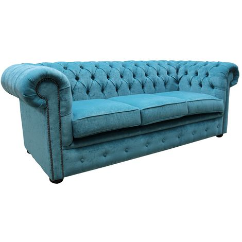 """main image of """"Chesterfield Teal Blue Sofa"""""""