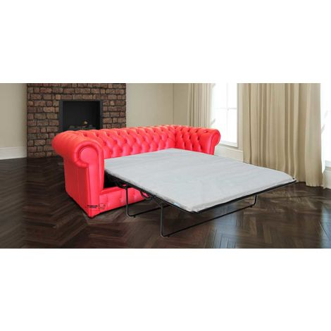 Chesterfield Thomas 3 Seater Settee Poppy Red Leather SofaBed Offer