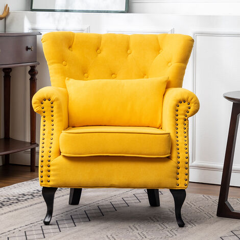 Chesterfield Tub Chair Armchair With Cushion, Yellow