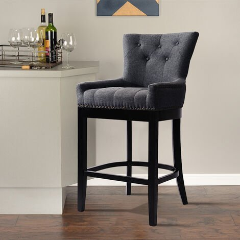 Chesterfield Upholstered Bar Stool Dining Breakfast Chair Stools Fabric & Studs