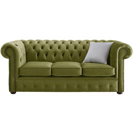 Chesterfield Velvet Fabric Sofa Malta Grass Green 3 Seater
