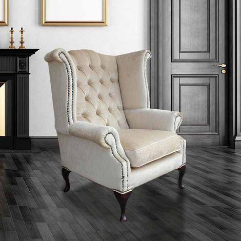 Chesterfield Velvet Queen Anne High Back Wing Chair Perla Shell