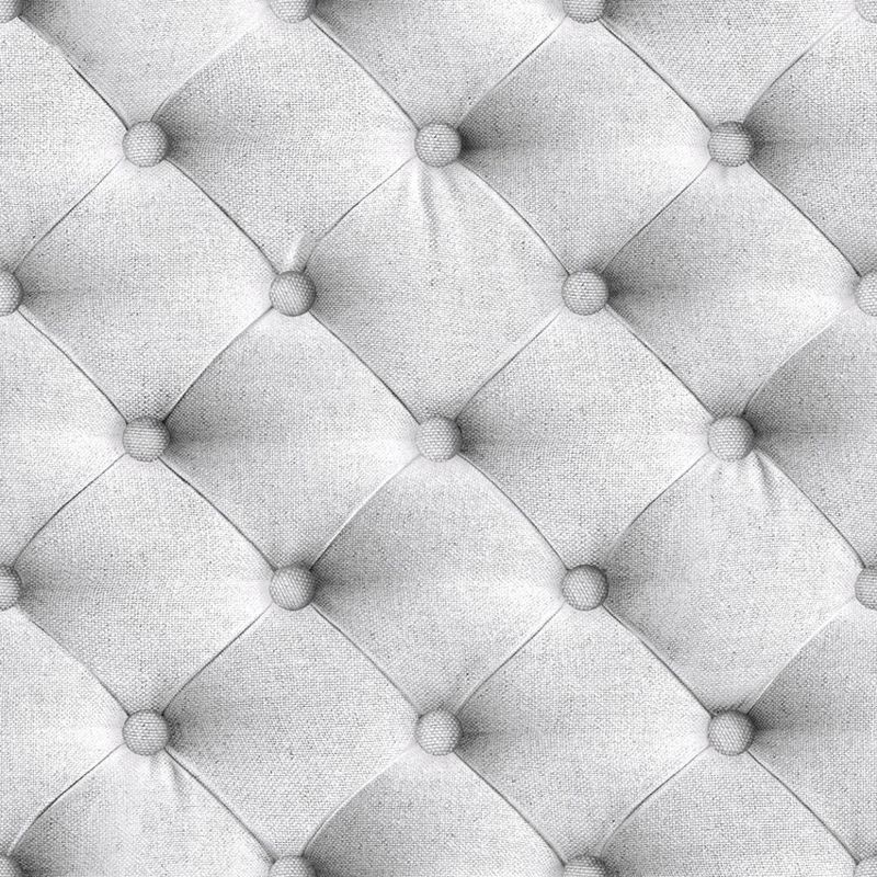 Image of Chesterfield Headboard Wallpaper Fabric Effect Padded Grey Vinyl Paste The Wall