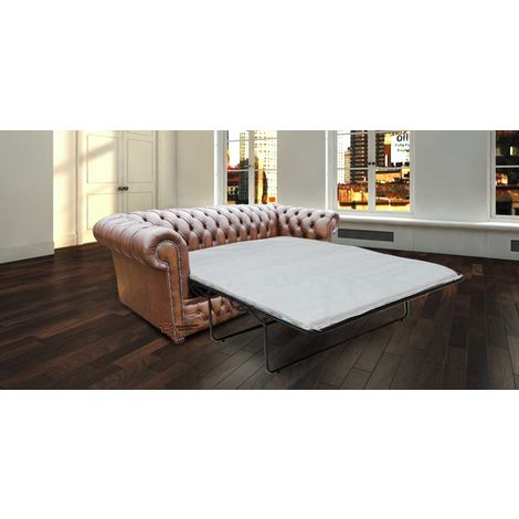 Chesterfield Winchester 3 Seater Sofabed Settee Antique Brown