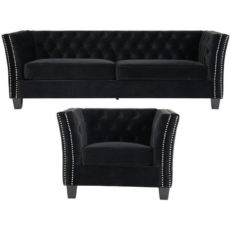 Chesterfield York 3+1 Seater Flat Pack Sofa Suite Black Velvet