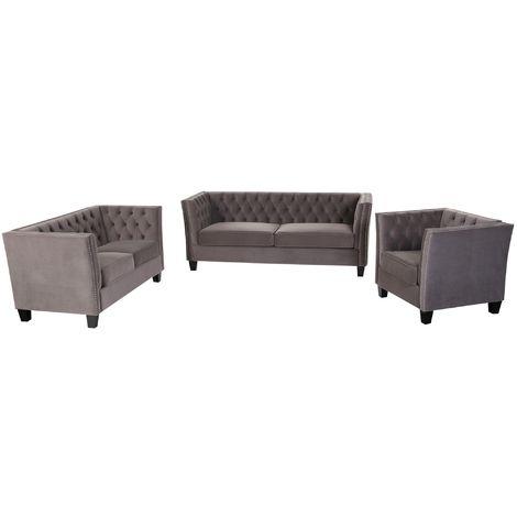 Chesterfield York 3+2+1 Seater Flat Pack Sofa Suite Grey Velvet
