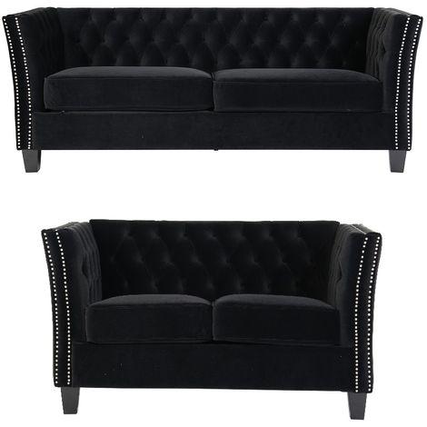 Chesterfield York 3+2 Seater Flat Pack Sofa Suite Black Velvet