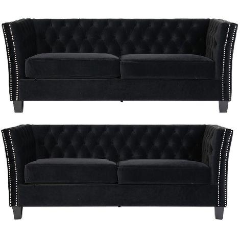 Chesterfield York 3+3 Seater Flat Pack Sofa Suite Black Velvet