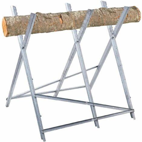 Chevalet à bûche en métal avec 3 pieds