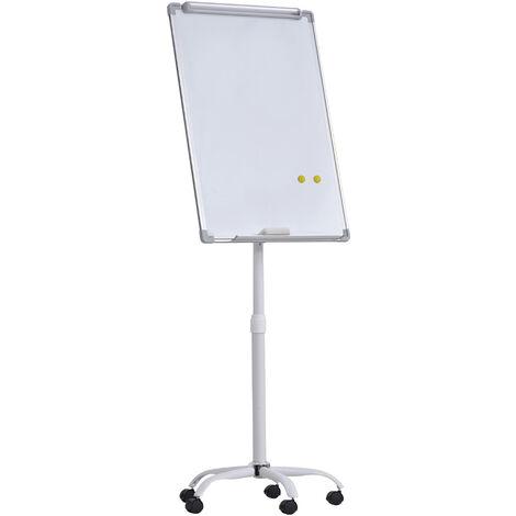 Chevalet de conférence mobile - tableau blanc effaçable, magnétique réglable en hauteur - dim. 62L x 60l x 162-194H cm accessoires inclus blanc
