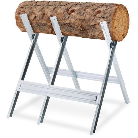 Chevalet de sciage, couper le bois, pliable, support tronçonneuse, acier, HxLxP: 81 x 75,5 x 81 cm, argenté