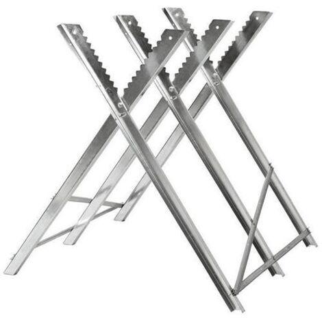 Chevalet de sciage en acier galvanisé - avec dents - max. 150kg - pliable