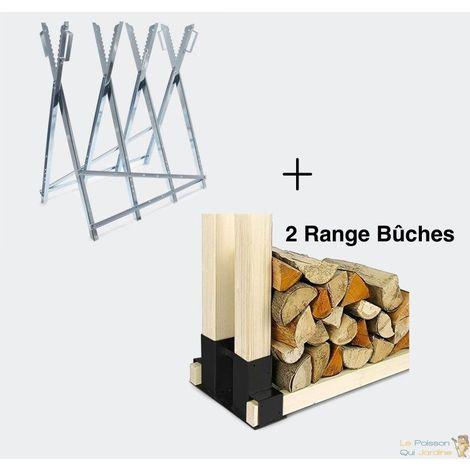 Chevalet De Sciage Tronçonnage Pour Bûches + 2 Range Bois De Chauffage