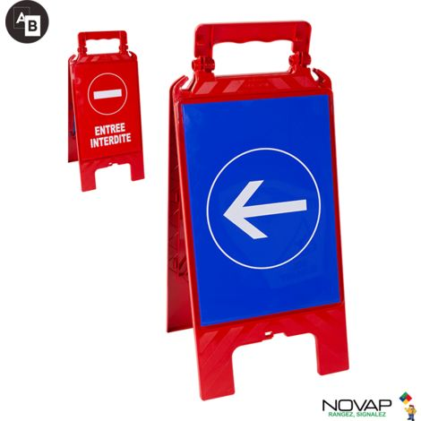 Chevalet modulable rouge - entrée interdite et sens obligatoire - 4280462