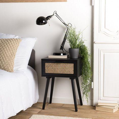 "main image of ""Chevet noir 1 tiroir cannage - Noir / Naturel"""