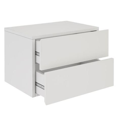 Chevet suspendu FLORENT, étagère murale avec 2 tiroirs sans poignée, en mélaminé blanc mat