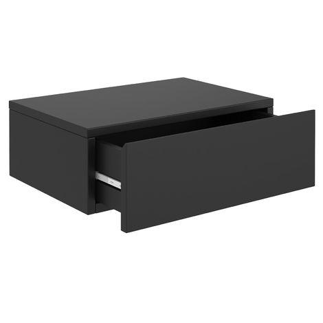 Chevet suspendu OCEANE, étagère murale avec 1 tiroir sans poignée, en mélaminé noir mat