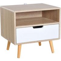Homcom Table de Chevet Table de Nuit Design scandinave 48L x 40l x 60H cm 2 tiroirs Pieds effil/és inclin/és Bois Massif Panneaux Particules Blanc