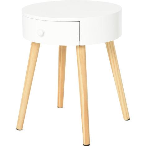 Chevet table de nuit ronde design scandinave tiroir pieds effilés inclinés bois massif pin MDF blanc