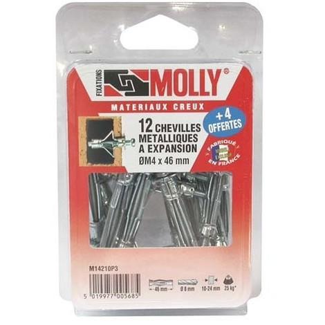 Cheville métallique à expansion avec vis - Molly Classique (blister) - plusieurs modèles disponibles