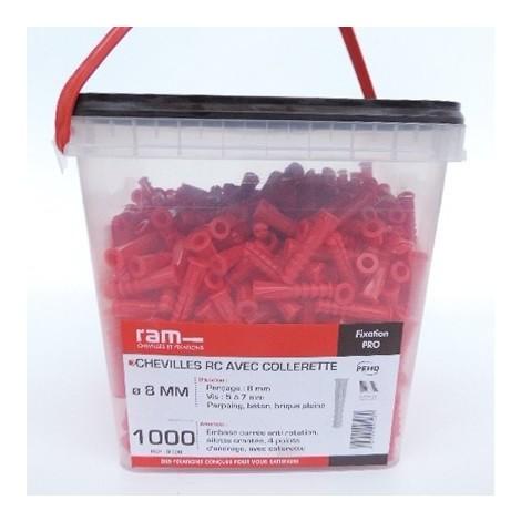 Cheville plastique Ø 8mm rouge L39mm avec collerette (seau de 1000) multi-matériaux RC RAM 9108