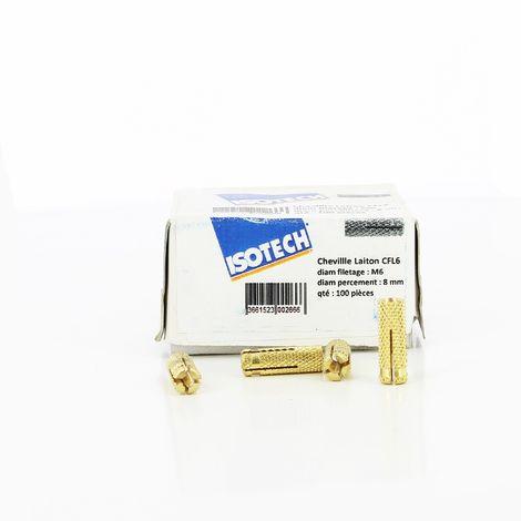 Chevilles laiton CFL 6 - Diamètre percement 8 Isotech | Boite de 100