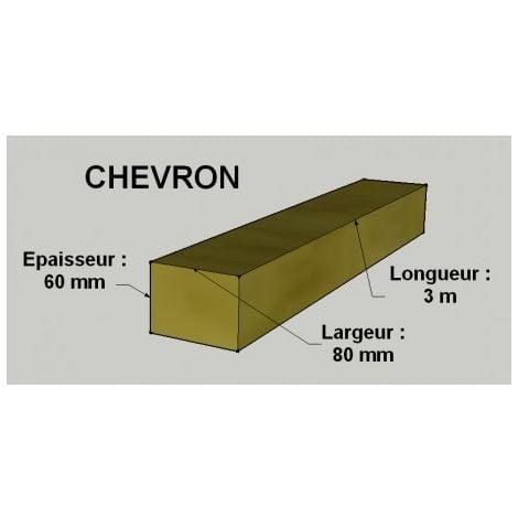 Chevron 60x80mm Sapin / Épicéa Brut Traité Classe 2 Jaune 3m