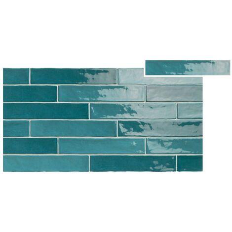 Chevron effet zellige turquoise nuancé 5x25 cm PIASTRELLA TURQUESE MIX - 1.2m²