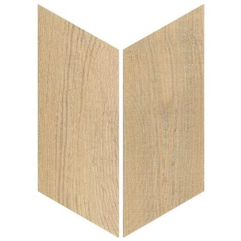 Chevron imitation bois sol ou mur 9x20.5 cm HEXAWOOD NATURAL - réf. 21657-21658 - 1m² | gauche