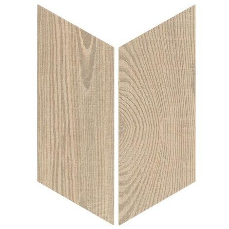 Chevron imitation bois sol ou mur 9x20.5 cm HEXAWOOD TAN - réf : 21656-21655 - 1m² | droit