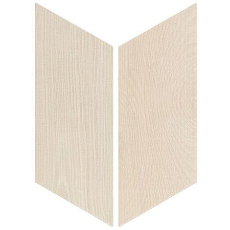 Chevron imitation bois sol ou mur 9x20.5 cm HEXAWOOD WHITE - réf. 21651-21652 - 1m² | gauche