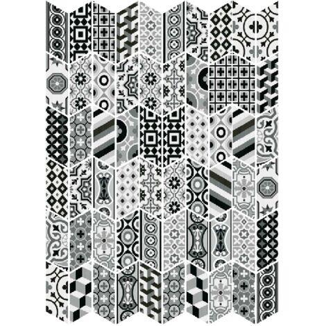 Chevron patchwork Black & White motifs anciens 9x20.5 cm - 1m² | droit