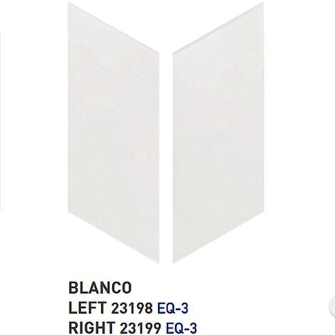 Chevron uni sol ou mur 9x20.5 cm BLANC MAT - 1m² | gauche