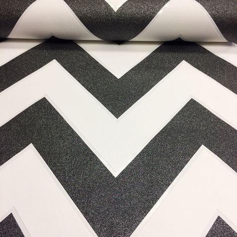 Chevron Zig Zag Wallpaper White Black Glitter Textured Vinyl Paste The Wall