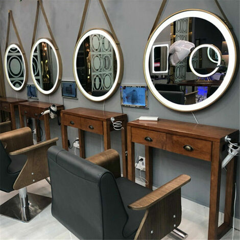 Chic Round LED Illuminated Bathroom Mirror Demister Hanging Salon Makeup Mirrors