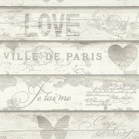 Chic Wood Effect Wallpaper Caligraphy Typography Butterfly Heart Motifs Neutral