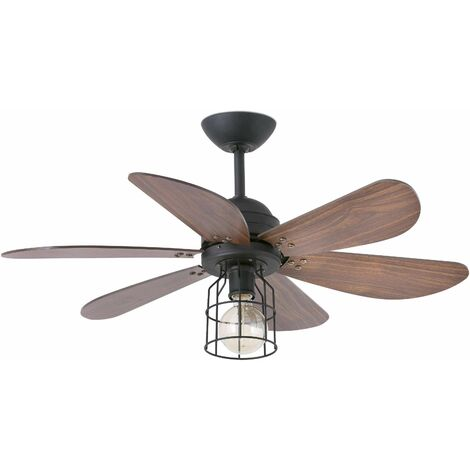 Chicago 1-light black ceiling fan with light