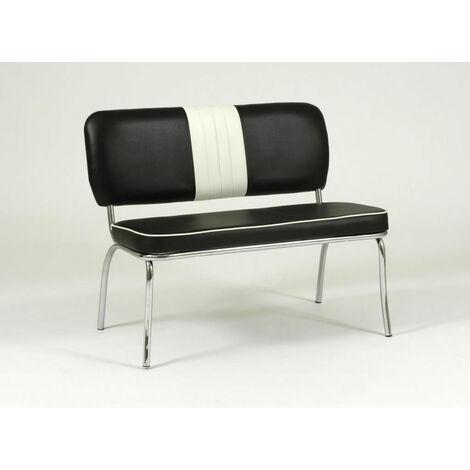 Chicago 50'S Chair Bench Black White Chrome Frame Legs