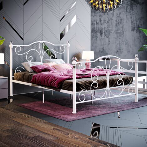 Chicago Double Metal Bed, White