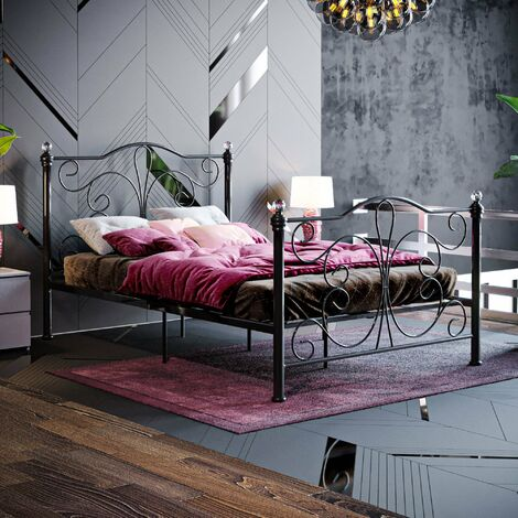 Chicago Small Double Metal Bed, Black