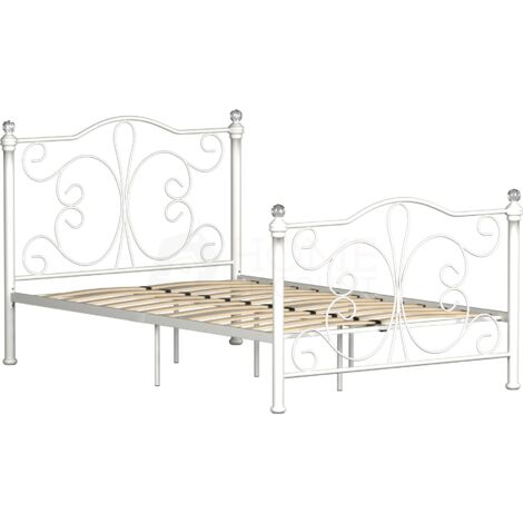 Chicago Small Double Metal Bed, White