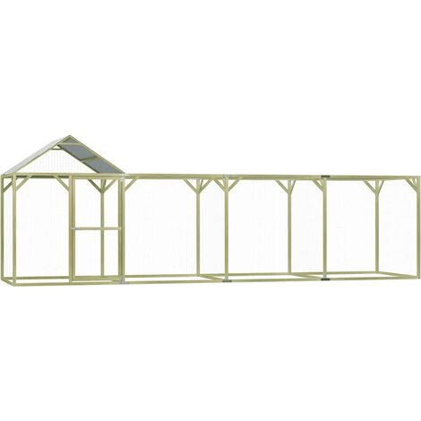 Chicken Cage 6x1.5x2 m Impregnated Pinewood - Green