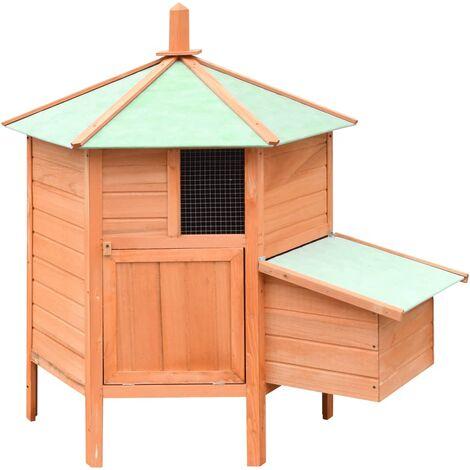 Chicken Cage Solid Pine & Fir Wood 126x117x125 cm - Brown