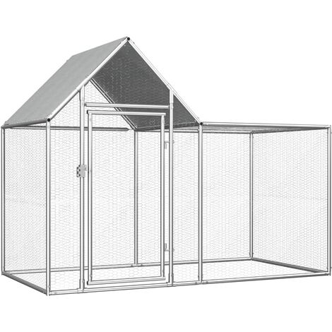 Chicken Coop 2x1x1.5 m Galvanised Steel - Silver
