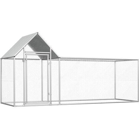 Chicken Coop 3x1x1.5 m Galvanised Steel - Silver