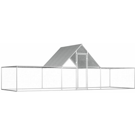 Chicken Coop 6x2x2 m Galvanised Steel