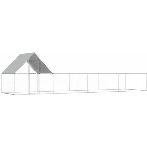 Chicken Coop 8x2x2 m Galvanised Steel