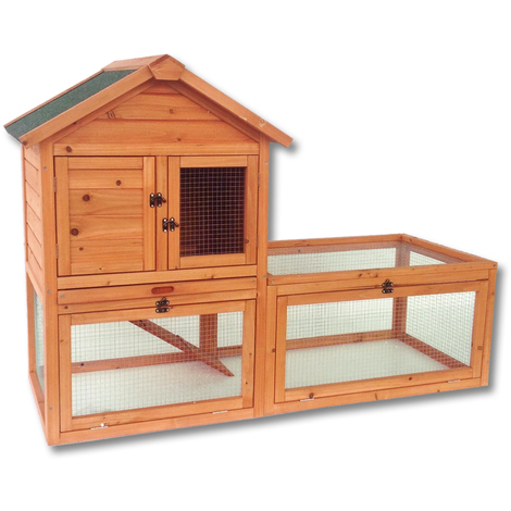 Chicken Coop Hen House Poultry - Pet Hutch Bunny House with Large Run