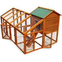 Chicken coop & run hen house poultry cage nest box rabbit hutch with flexible free run layout