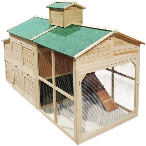 Chicken coop & run hen house poultry nest box rabbit hutch cottage-styled with a run area